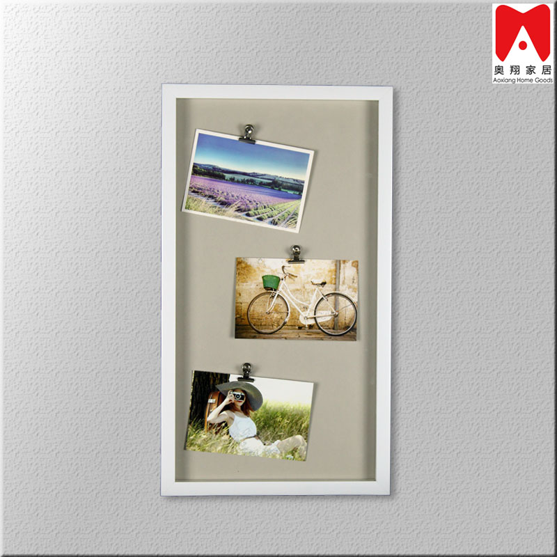 PS1080 Tripple Clips gray cardboard backing white PS Picture Frame